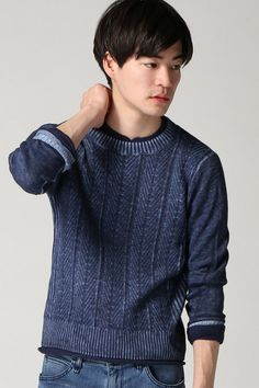 JOURNAL STANDARD (Journal Standard) C / L cable print crew neck knit | style cruise