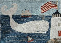 Polly Minick's Whale & Light House hooked rug.