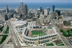 Cleveland Indians - Jacobs Field - Cleveland, OH - Solid ballpark, good location. The best thing going in downtown Cleveland with the possible exception of the Rock and Roll Hall of Fame. Cleveland Skyline, Cleveland Ohio, Cleveland Indians, Cleveland Rocks, Cleveland Heights, Columbus Ohio, Cincinnati, City Skyline Wallpaper, New York Wallpaper