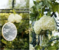 Lace and Flowers Decorate an Arbor for Outdoor Wedding Ceremony