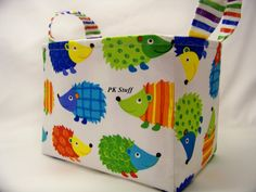 PK Fabric Basket in Hedgehogs  Ready To Ship  Washable  by PKStuff, $14.50