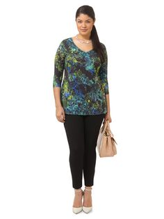 Triste Helix Nebula V-Neck Tunic. So pretty, but a little snug and no size up. Looked great, loved the shape and colors; very uncomfortable for a full workday.