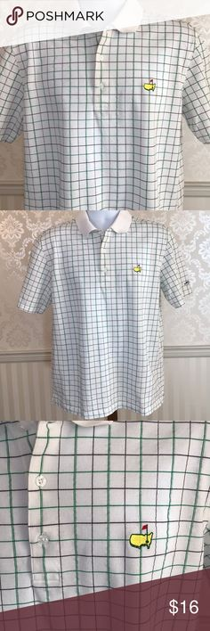 Men's Masters Collection White Plaid Polo Shirt Men's Masters polo shirt in perfect condition.  Crisp white with green and black plaid.  Designed with 100% Pima cotton with a slight waffle texture.  Masters emblem on front chest with logo on sleeve.  Size L.  Measurements available upon request. Masters Collection Shirts Polos