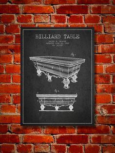 1900 Billiard Table Patent Canvas Print Wall by PatentsWallArt