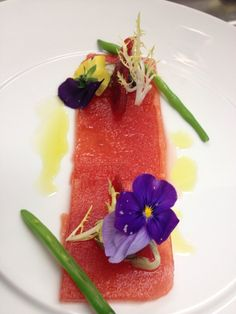 Watermelon carpaccio. A great way to start your night!