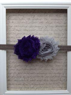 Baby Girl Headband - Gray and Dark Purple Double flower headband. $7.50, via Etsy.