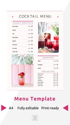 Cocktail menu | Коктейльное меню Menu Online, Restaurant Menu Design, Cocktail Menu, Daiquiri, Classic Cocktails, Bloody Mary, Web Browser, Smoothies, Smoothie