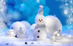 free christmas snowman wallpaper | ... Christmas Holiday Desktop > Cute Snowman and Christmas Ball Image