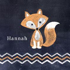 Geboortekaartje met krijtbord look waarop een schattig vosje is getekend www.carddreams.be