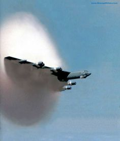 "Real(Mislabeled) - Captioned as: ""B-52 Breaking the Sound Barrier"" - This is a B-52 Bomber flying thru a moisture/condensation barrier at subsonic speed.... another link: http://www.spacewar.com/reports/Boeing_B52_With_CONECT_Upgrade_Accomplishes_First_Test_Flight_999.html and discussion in comments: https://reposti.com/p/V7 (644 mph top speed for B-52(I don't know about secret versions.) vs 768 mph speed of sound.)"