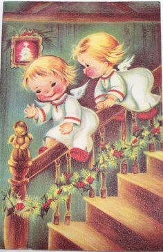 Vintage Christmas Card - Greeting Card  - Angels -  Children and Staircase  - Signed -  1940s 1950s 1960s