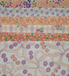 VINTAGE FEEDSACK FABRIC ~ Fab Peach & Purple Scrap Bag Lot Cotton Flour Sacks