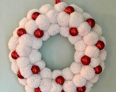 Snowball Pom Pom Wreath, Yarn Wreath, White and Red Wreath, Christmas Wreath, Sparkly Wreath, Indoor Wreath, Christmas Decor