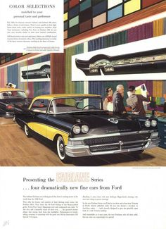 Large sized promotional booklet for the 1958 Ford Fairlane and Fairlane Models featured include the new Fairlane 500 series, Custom 300 series, and station wagons. Retro Cars, Vintage Cars, Antique Cars, Vintage Auto, Ford Motor Company, Classic Car Restoration, Car Brochure, Car Ford, Ford V8