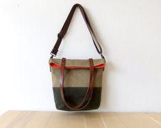 Folding bag Convertible Tote Canvas Base Cotton por BwwBag en Etsy