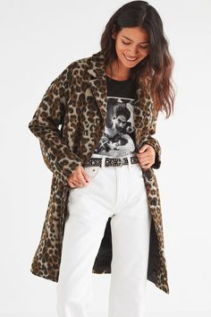UO Leopard Print Overcoat | Urban Outfitters