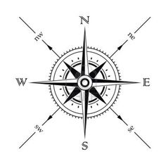 Vector wind rose compass silhouette Stock Photo - 3282536