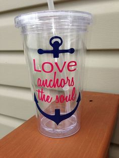 Quote & Monogram Anchor / Nautical Tumbler Cup on Etsy, $10.00