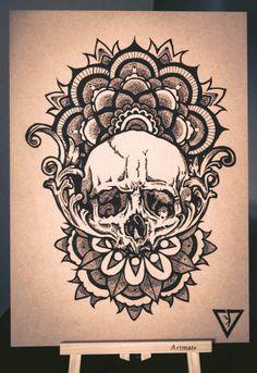 Skull mandala pyrography..