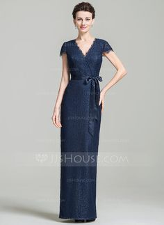 Sheath/Column V-neck Floor-Length Bow(s) Zipper Up Sleeves Short Sleeves No 2016 Dark Navy Spring Summer Fall General Plus Lace Mother of the Bride Dress