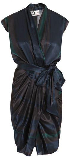 Subtle-Stripe Silk Dress