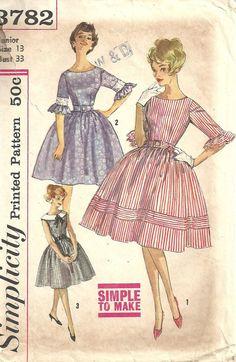 Patrones de costura simplicidad 3782 / Vintage 60s / vestido /