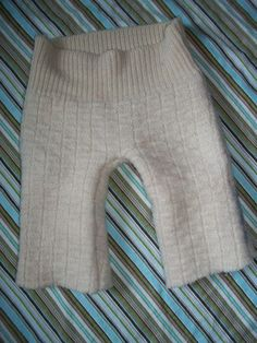 Upcycled wool sweater longies. I felted them heavily first and used a pair of her pants for the pattern, but Katrina's Sew Quick has a good one too.