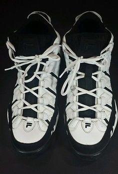Fila Sz 14M Spaghetti Basketball Stackhouse Sneakers White Black RETRO Men's