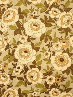 '60s wallpaper with floral pattern in green color