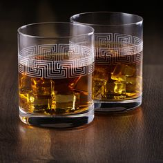 Etched Whiskey Glasses BROM | Made in Europe | Set of 2 x 10.8 oz Old Fashioned Glasses | Gift Box. Home Building Design, Whiskey Glasses, Greek Key, Ancient Greek, Cannabis, Liquor, Shot Glass, Europe, Drink