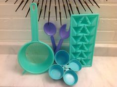 1950s Turquoise and Purple Plastic Vintage by LoveIsStrangeVintage, $28.11