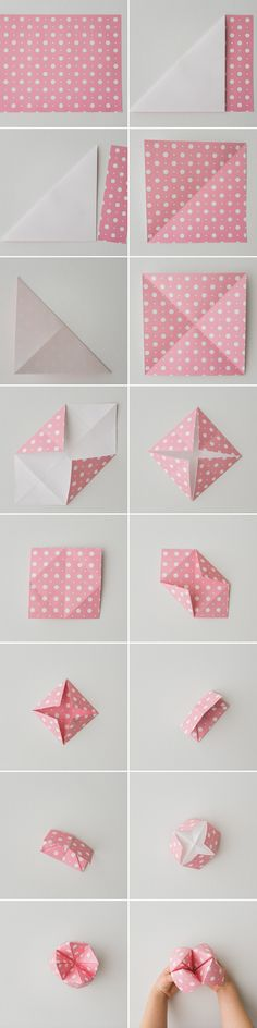 How to fold a fortune teller - loved these as a kid!  This post also has 14 Valentine Knock-Knock Jokes to put inside.