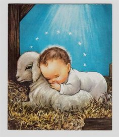 This is one of favorite childhood Christmas pictures! Vintage Baby Jesus Laying on A Lamb Under Holy Starlight Christmas Greeting Card