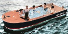 Isn't this the most amazing hot tub boat you've seen? I wish I had one for the summer or winter months. The Hot Tub Boat - Hammacher Schlemmer Hammacher Schlemmer, Electric Boat, Electric Motor, Chris Craft, My Pool, Pool Bar, Boat Rental, Cool Inventions, Hot Tubs