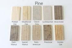 How 10 Different Stains Look on Different Pieces of Wood - Within the Grove Stain can easily change color depending on the wood you're using. We tested 10 different stains, light to dark, on 4 different pieces of wood to show you. Stain On Pine, Oak Stain, Grey Stain, Staining Pine Wood, How To Whitewash Wood, Best Wood Stain, White Wood Stain, Minwax Stain Colors, Pine Stain Colors