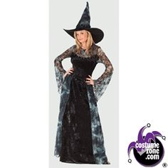 Midnight Sorceress Witch Costume (Women's Adult Medium / Large 8 - 14), Halloween Costumes, Scary Adult Halloween Costume, Fright Fun World , FCA , AMDALG - CostumeZone.com ®