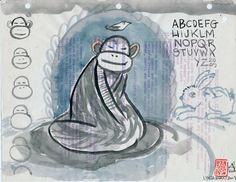 Winter Meditating Monkey 10 by Lynda Barry   -- who has an Etsy shop!!  https://www.etsy.com/shop/LyndaBarryArt?ref=l2-shopheader-name