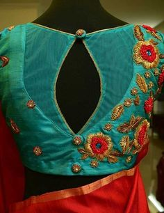 Stylish saree blouse designs prominent the looks of the wearer. For a classy and sophisticated look, try these blouse designs for wedding season. Blouse Back Neck Designs, Netted Blouse Designs, Simple Blouse Designs, Stylish Blouse Design, Saree Blouse Designs, Sari Blouse, Choli Designs, Saree Blouse Patterns, Kurta Designs