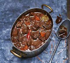 Spiced braised venison with chilli & chocolate  Read the recipe here http://www.bbcgoodfood.com/recipes/spiced-braised-venison-chilli-chocolate