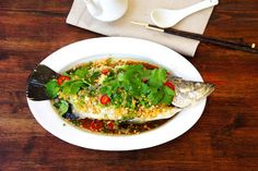 Steamed Fish With Crispy Ginger And Garlic