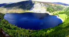 Guinness Lake, Wicklow, Ireland. because the lake is black and the sand at the top is tan.