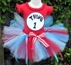 Thing One or Thing Two Dr Seuss Birthday Tutu Set