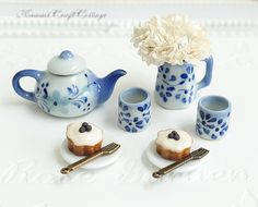 1/6 Scale Miniature Dollhouse Porcelain High Tea Set, Cupcake Pastry Bakery, Doll Fake Food, Tea Pot Cup Plate forks, Barbie, Blythe, Dolls Party,  Dolls, Miniatures, Patisserie, Confectionery, Miniature food, cupcakes, blue white ceramic kitchenware, vase, flowers, Ceramic