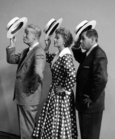 """[""""Maurice Chevalier, Lucille Ball and her husband Desi Arnaz (L-R) during rehearsal for the TV show I Love Lucy."""" Photograph by Leonard McCombe. Divas, I Love Lucy Show, Vivian Vance, Tv Moms, Lucille Ball Desi Arnaz, Lucy And Ricky, Fifties Fashion, Online Photo Gallery, Old Hollywood"""