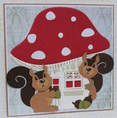 Gemaakt door Joke # herfstkaart met paddenstoel en eekhoorntjes