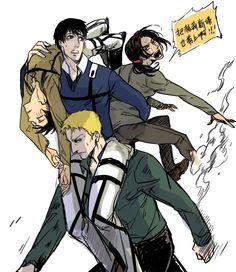 Shingeki no Kyojin (Attack on Titan) Eren, Reiner, Ymir, and Berthodlt. Armin, Eren X Mikasa, Giant People, Crazy People, Titan Shifter, Connie Springer, Good Anime Series, Attack On Titan Eren, Love Jeans