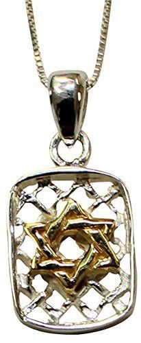 Silver Star of David Dog Tag Necklace With Gold Plating - Chain 18 inch Pendant 5/8 inch H Â 3/8 inch W