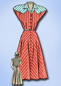 1940s Vintage Mail Order Sewing Pattern 8285 Misses WWII Day Dress Pattern Sz 14