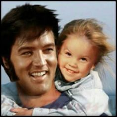 Elvis and Lisa Marie in Hawaii. Definitely a daddy's girl.