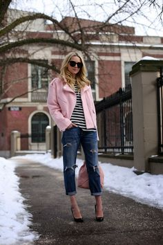 Fashion Estate - Atlantic-Pacific: Pink Moto | love the distressed jeans